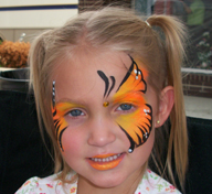 Orange Butterfly Face Painting